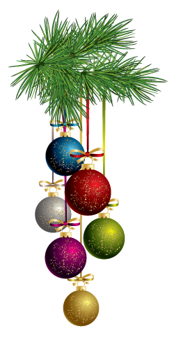 tree branch with coloured baubles - Santa Trees